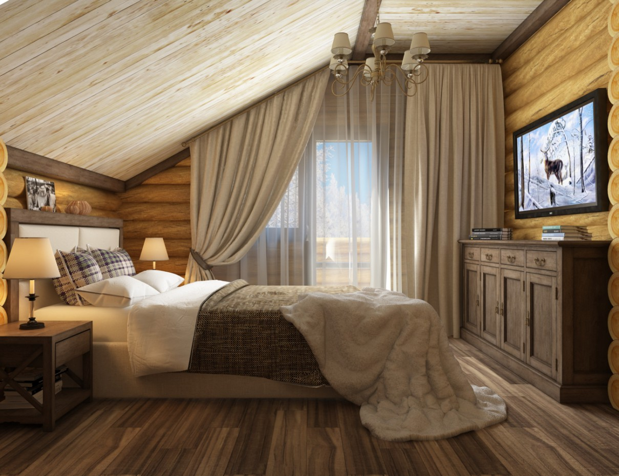 Bedroom chalet-style! in 3d max vray 3.0 image