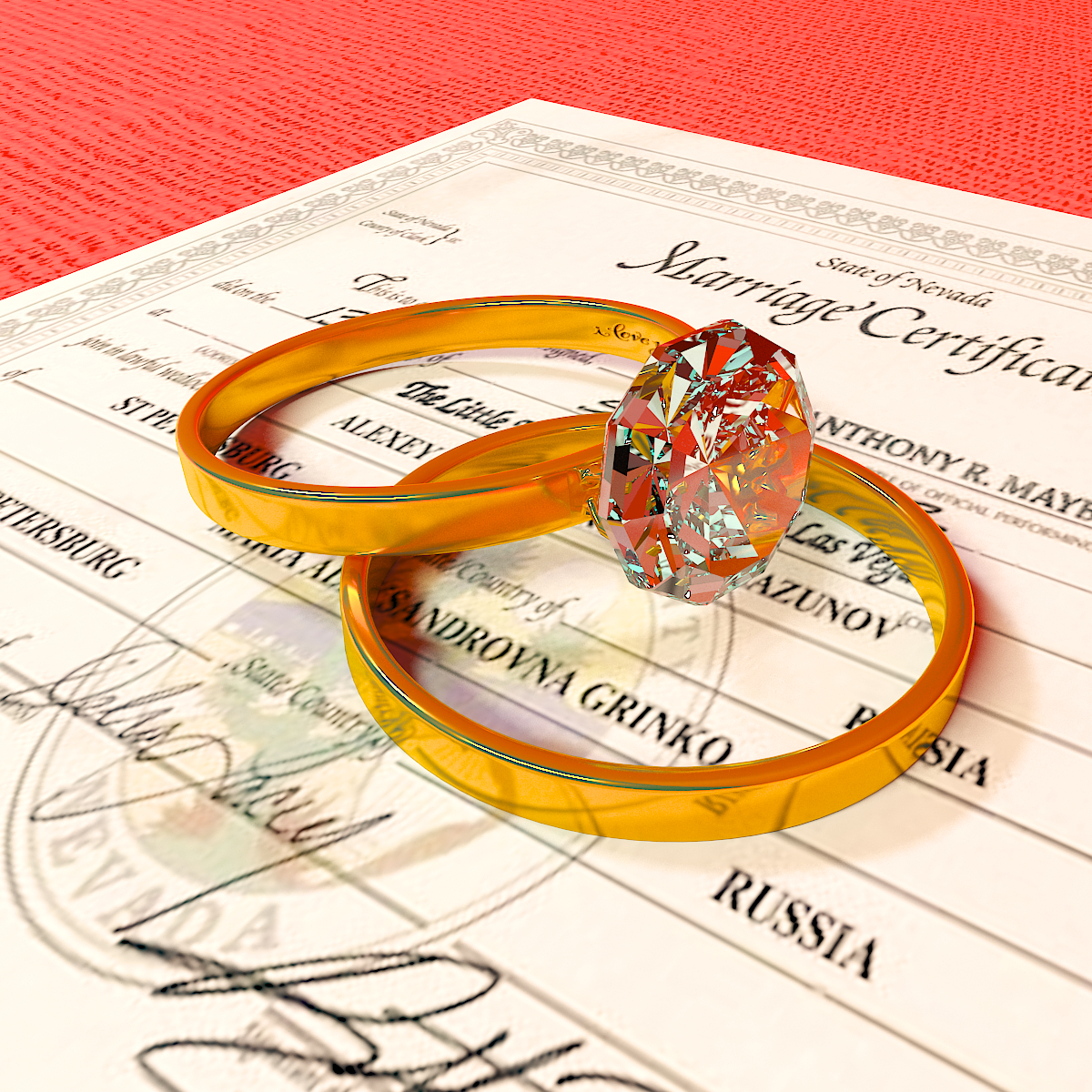 wedding rings in 3d max vray 3.0 image