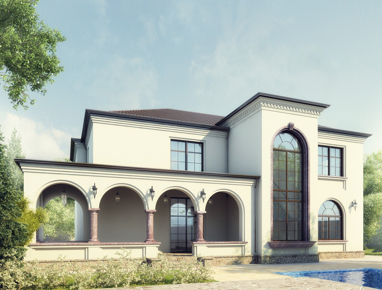 3d visualization of the project in the Villa in Baku. Mardakan. 3d max, render vray of Elnur Hajialiyev