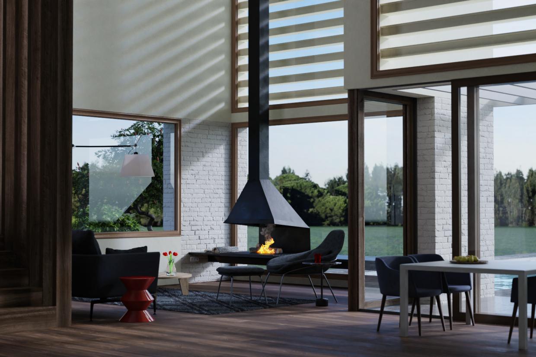 एक देश के घर का आधुनिक इंटीरियर Blender cycles render में प्रस्तुत छवि