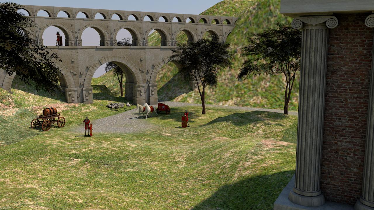 रोमन द्वीप Cinema 4d maxwell render में प्रस्तुत छवि