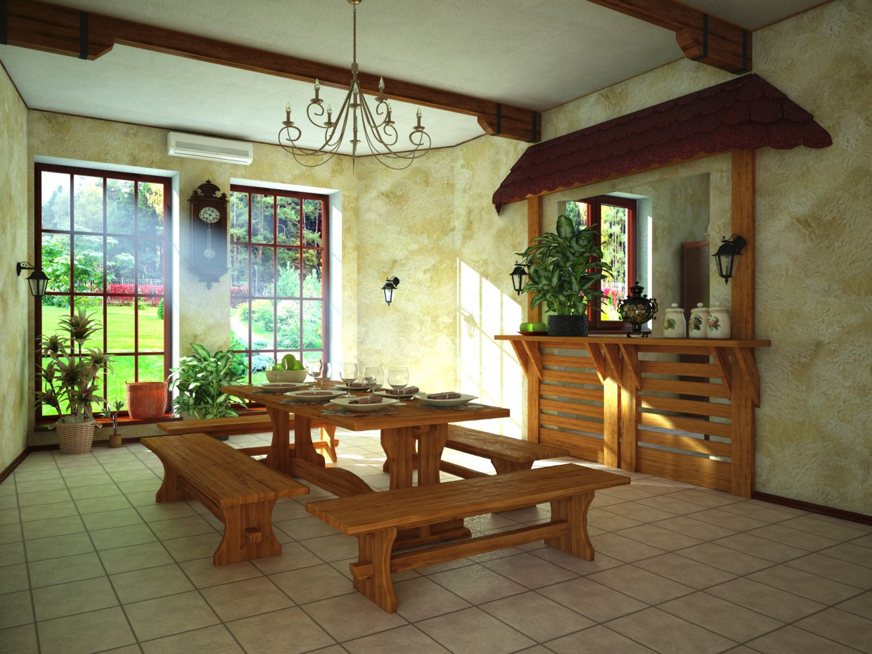 Dining area in rental house  in  3d max   vray  image