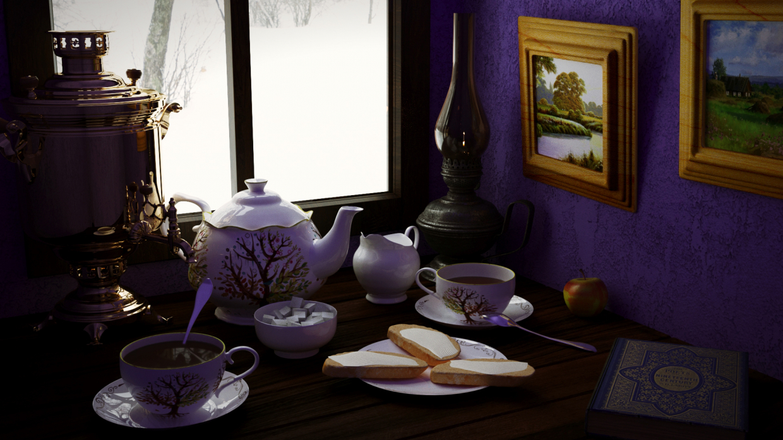 देहाती चाय पार्टी 3d max corona render में प्रस्तुत छवि