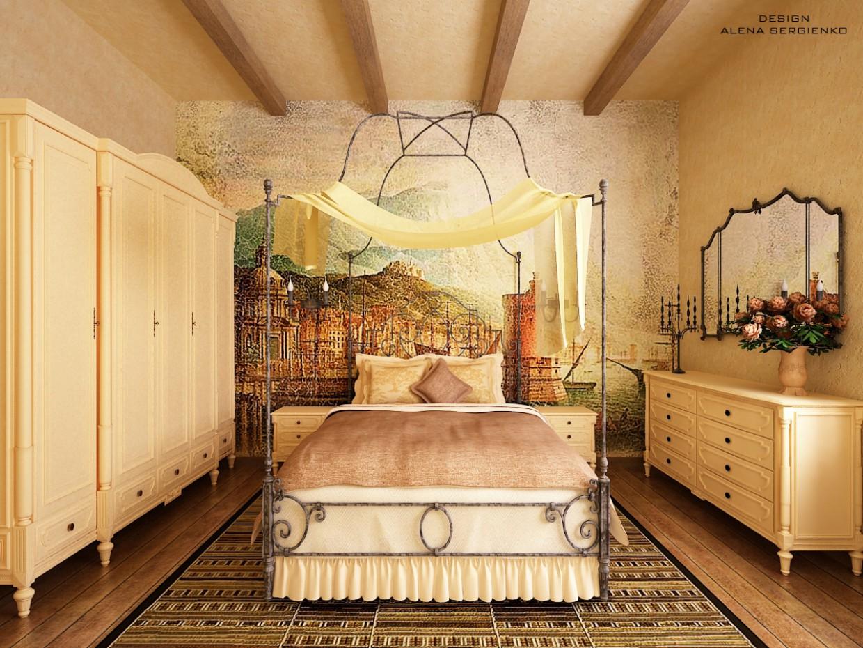 Chambre à coucher dans une maison de campagne dans 3d max vray image