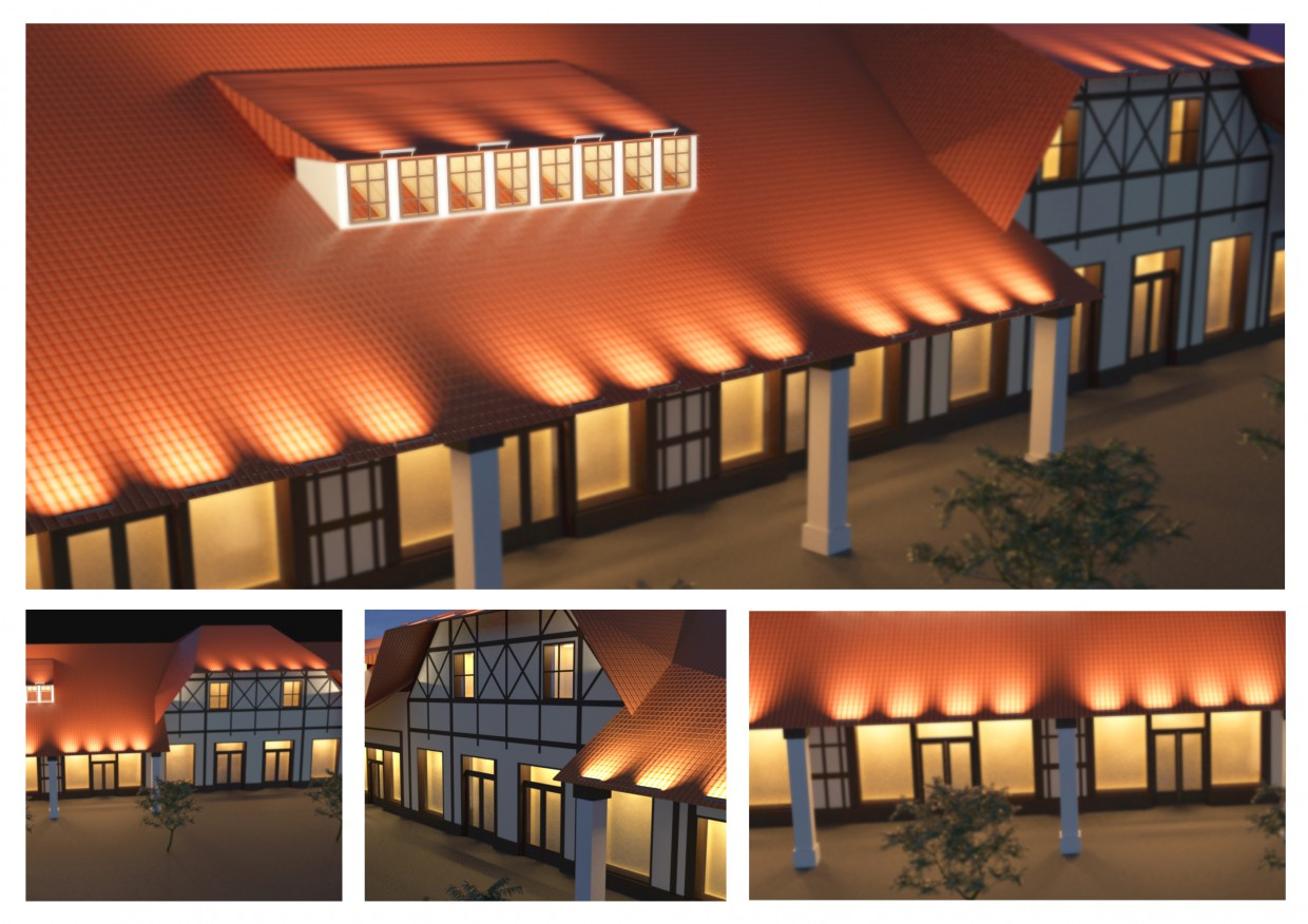 The lighting project of the shopping center in 3d max corona render image