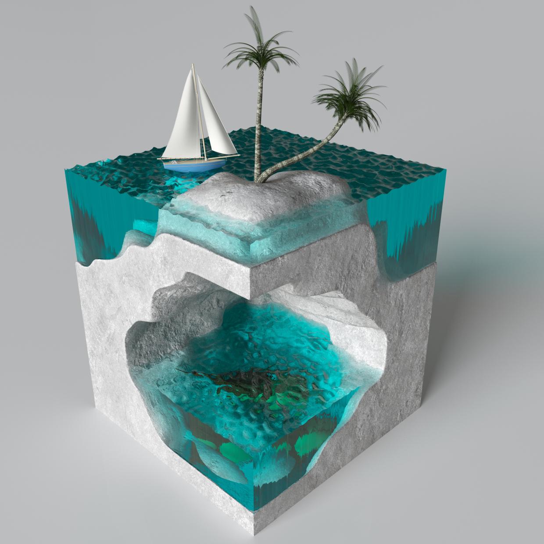 अजीब द्वीप 3d max corona render में प्रस्तुत छवि