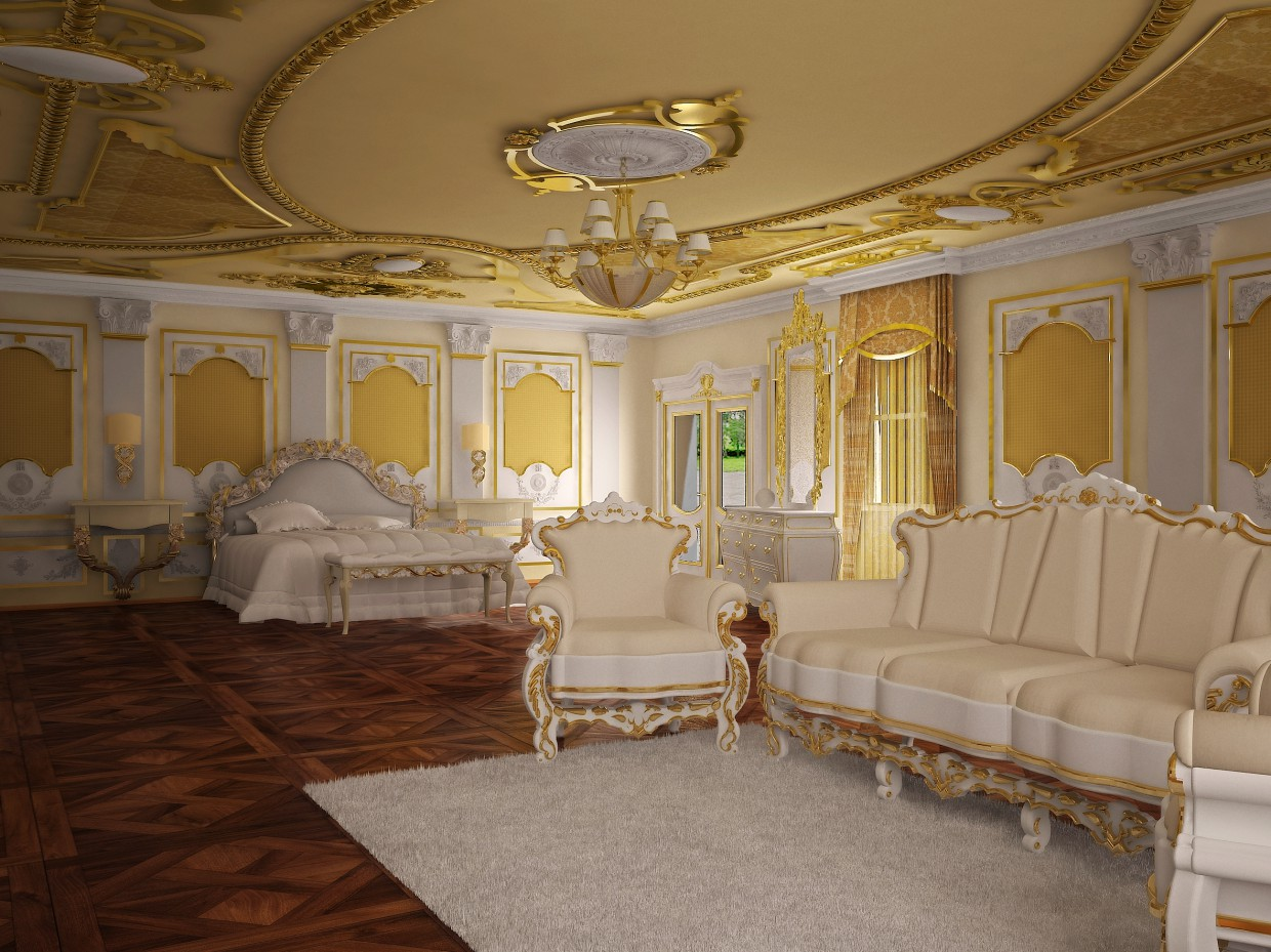 3d visualization of the project in the Bedroom 3d max, render vray of Nurullokhon
