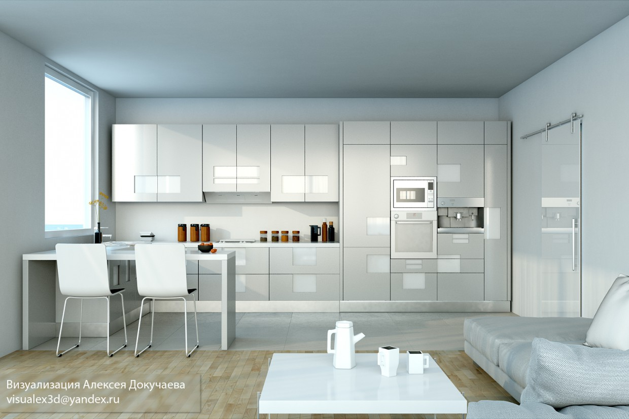 3d visualization of the project in the kitchen, migimalizm. 3d max, render vray of Cue8441