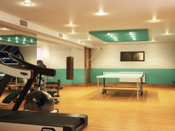 Sports room in a basement