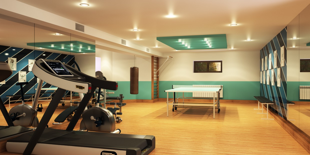 Sports room in a basement  in  3d max   vray  image