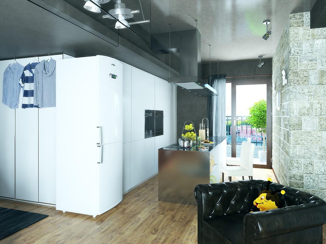 visualización 3D del proyecto en el Acogedor apartamento en el centro. 3d max render vray 3.0 Dmitrii Shilov
