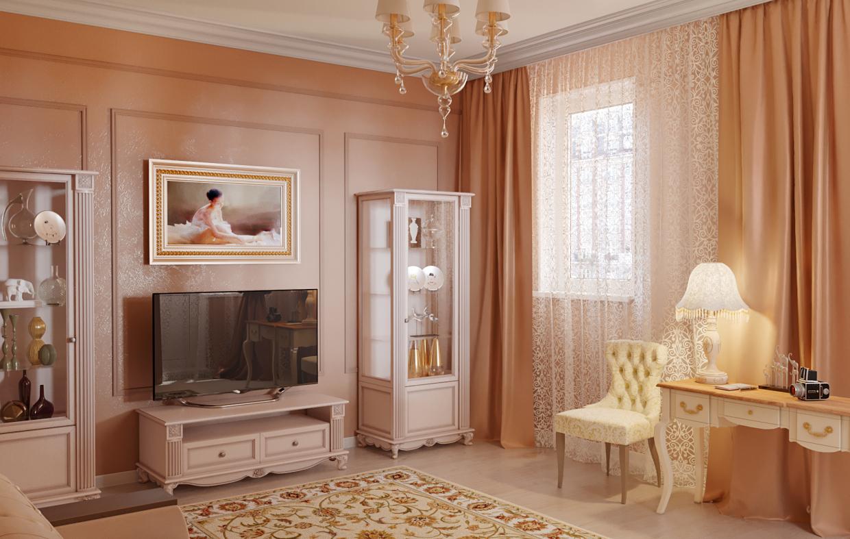 Cream living room in 3d max corona render image