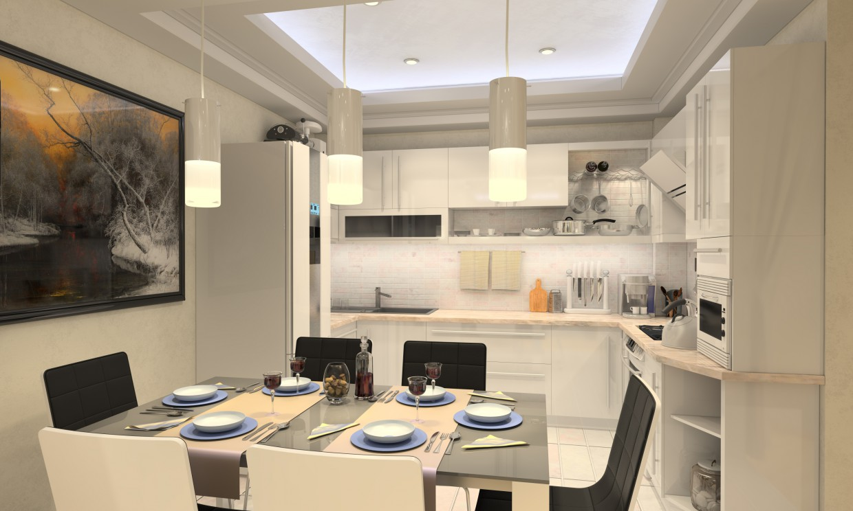 Kitchen in a studio apartment in 3d max vray image