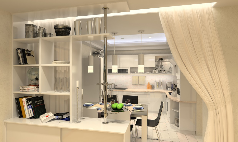 Cuisine dans un appartement studio design et visualisation - Cuisine dans studio ...
