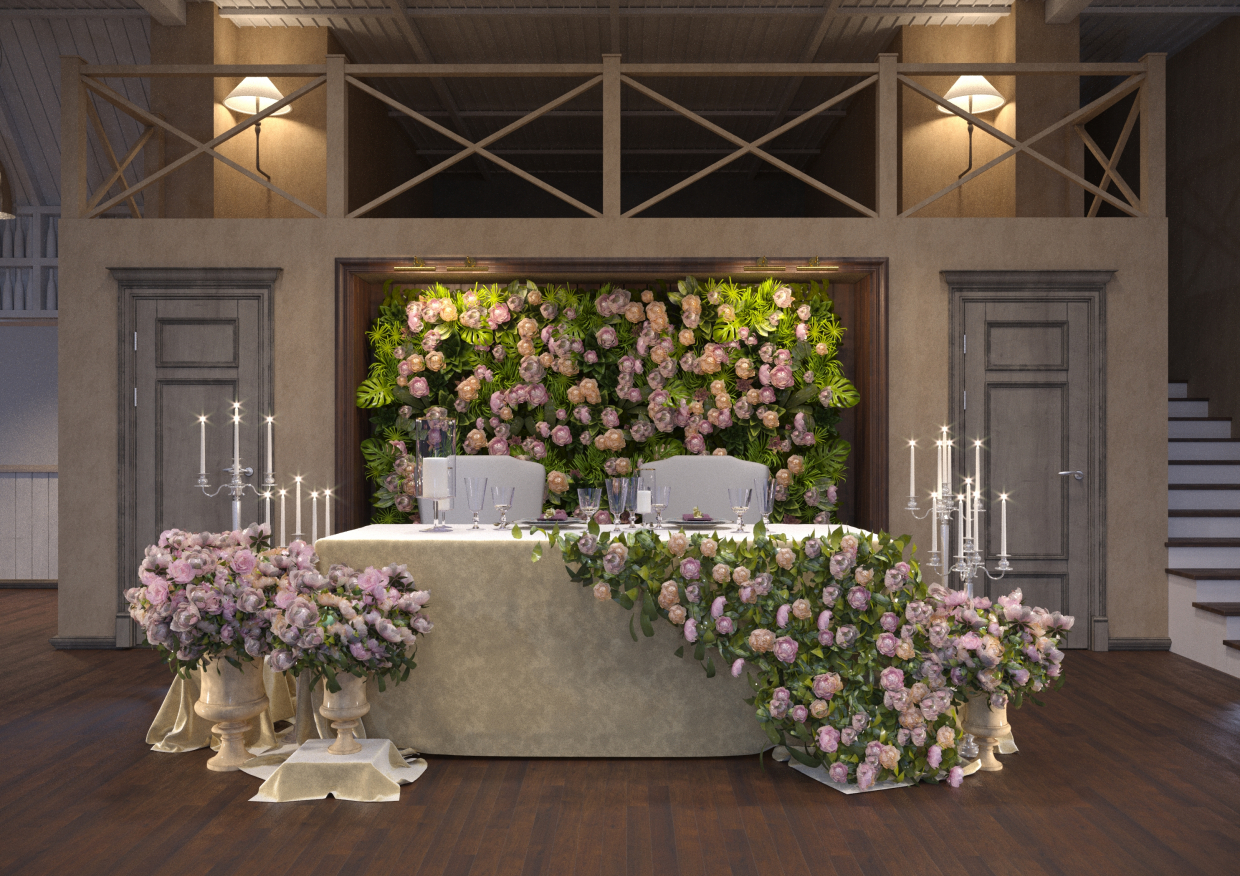 Wedding installation in 3d max corona render image