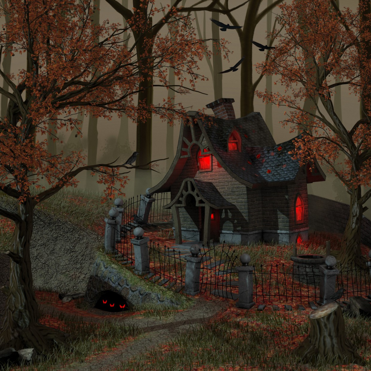 3d visualization of the project in the Witch house 3d max, render vray 3.0 of llleeSh