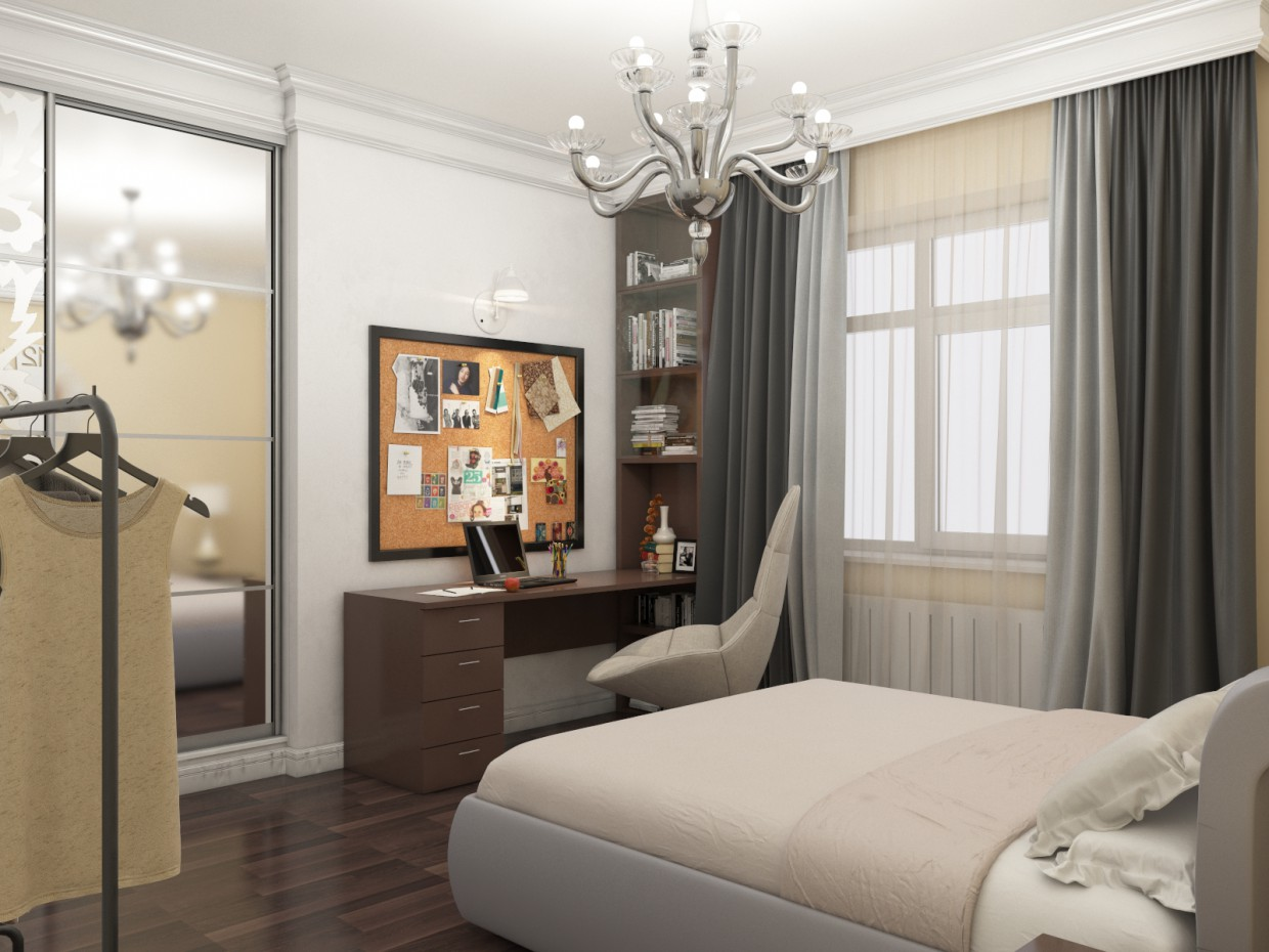Visualization of theq bedroom in 3d max vray 3.0 image