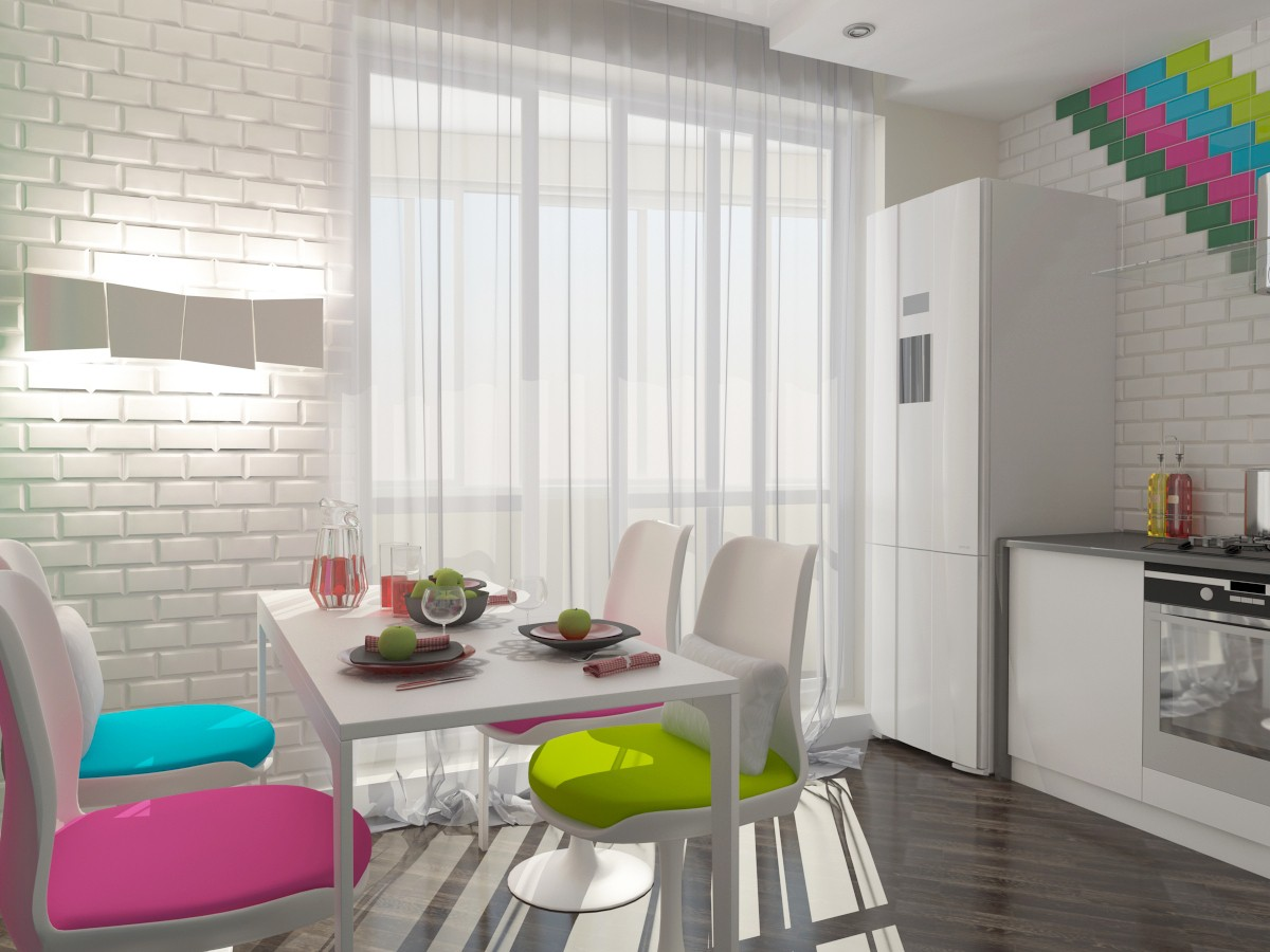 Kitchen for a young couple in 3d max vray image