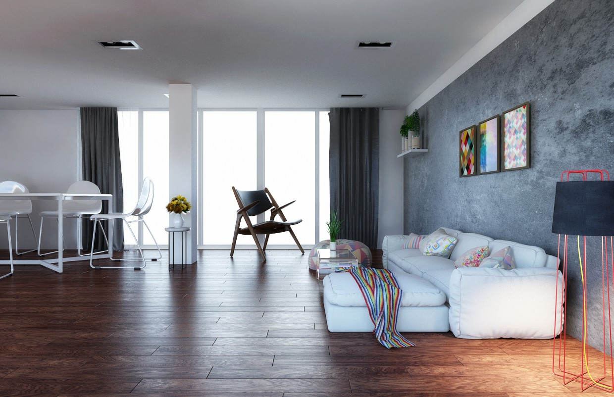 Living room in 3d max mental ray image