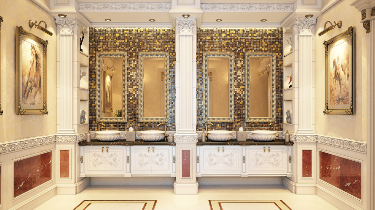 luxury classic handwash area in 3d max vray 3.0 image