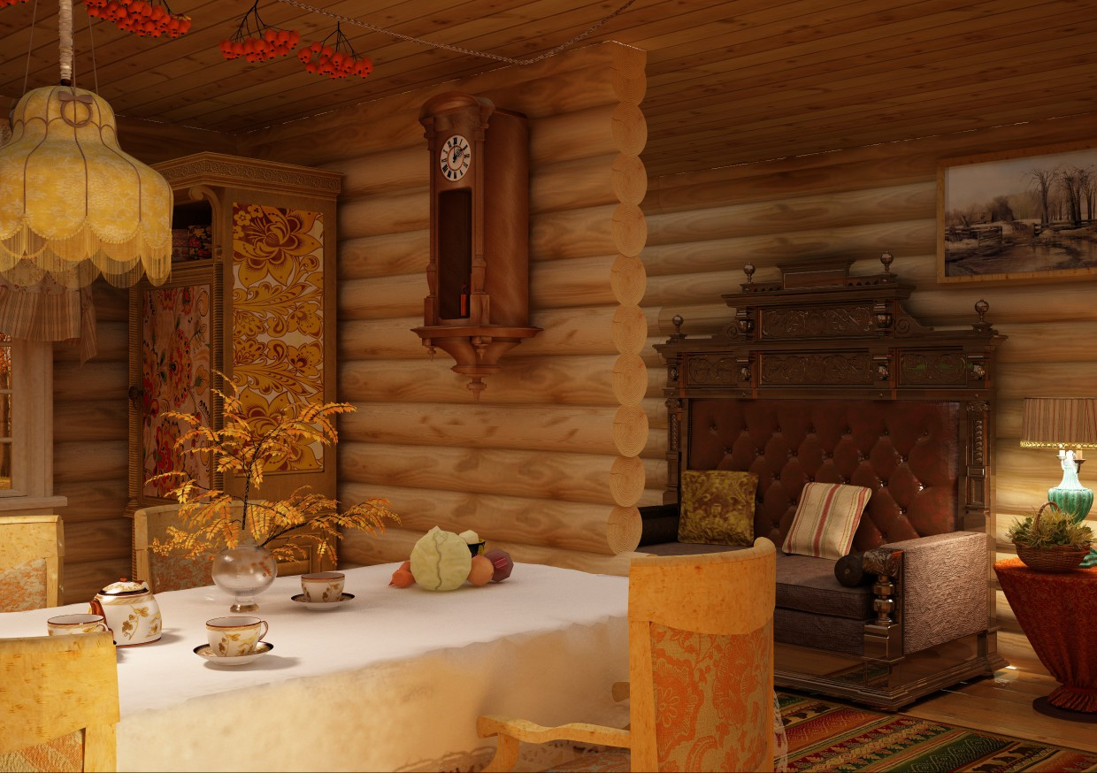 Kitchen in attics in Cinema 4d vray image