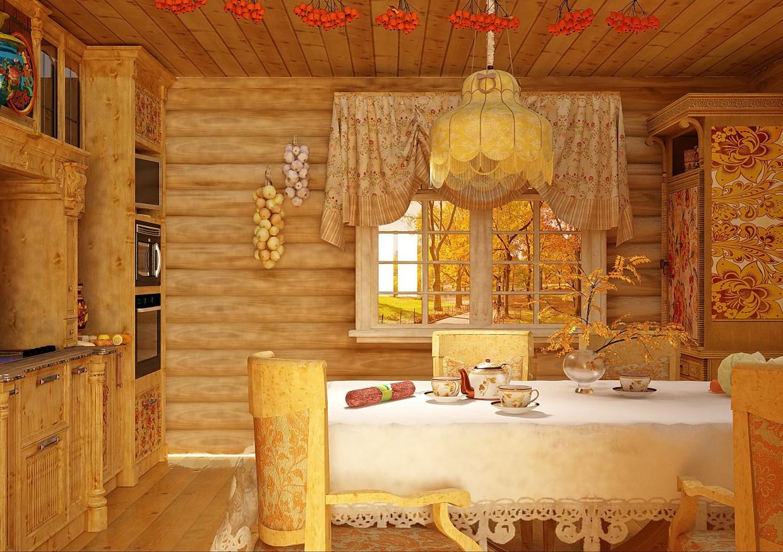 кухня в теремке в Cinema 4d vray изображение