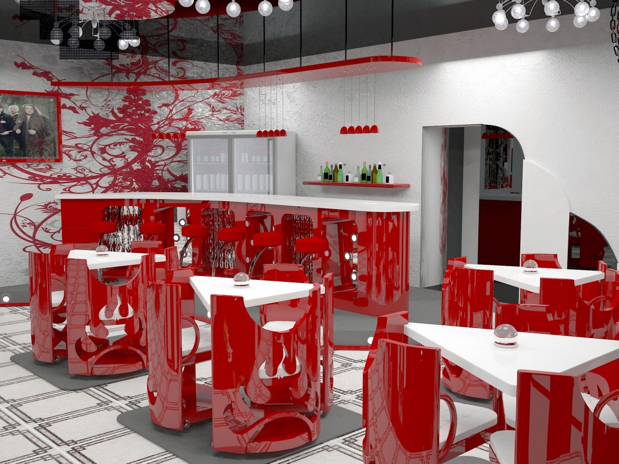 "Cafe ""fan"" in 3d max vray image"