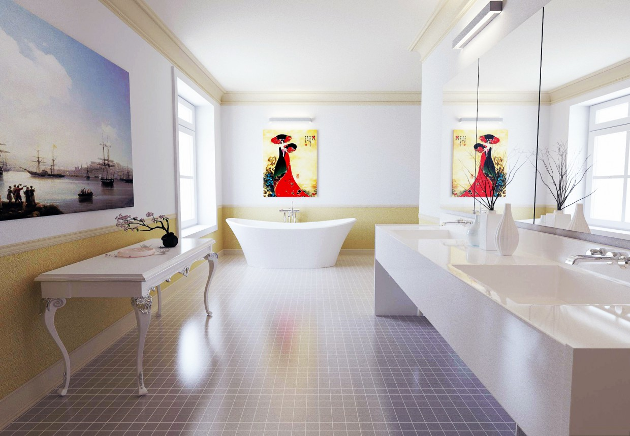 3d visualization of the project in the Bathroom 3d max, render corona render of Акжол 92