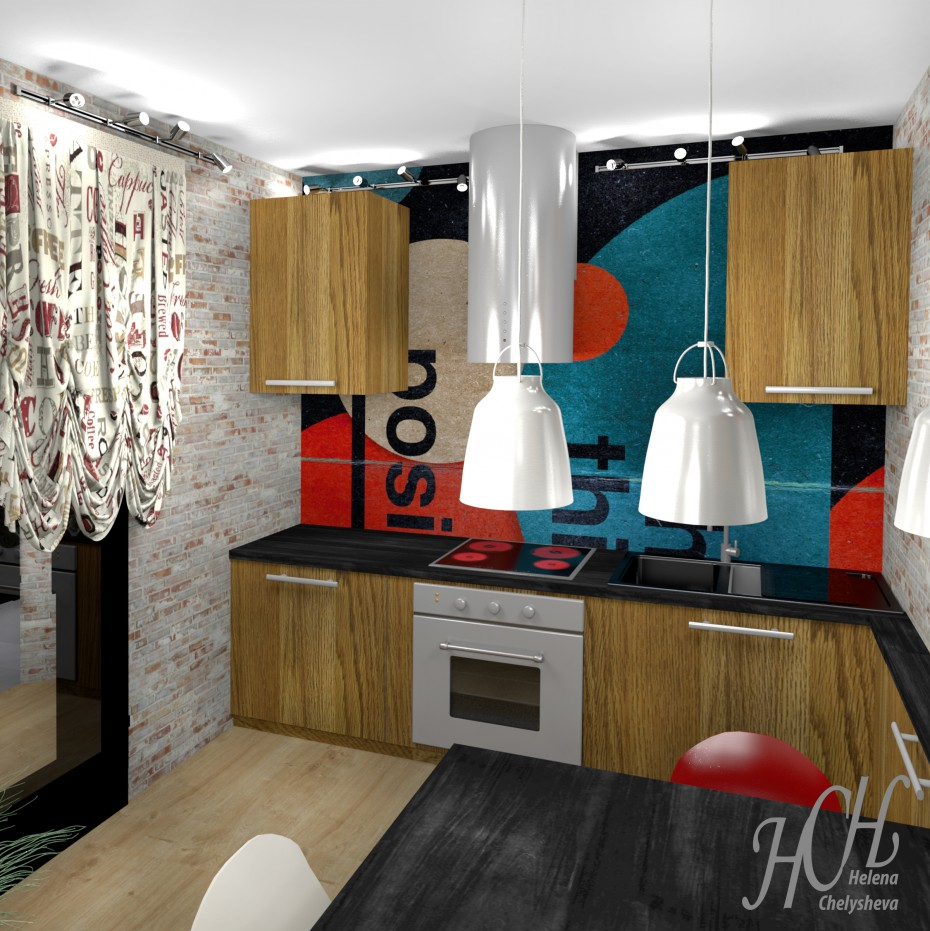 3d visualization of the project in the Loft kitchen Other thing, render Other of Helena Che