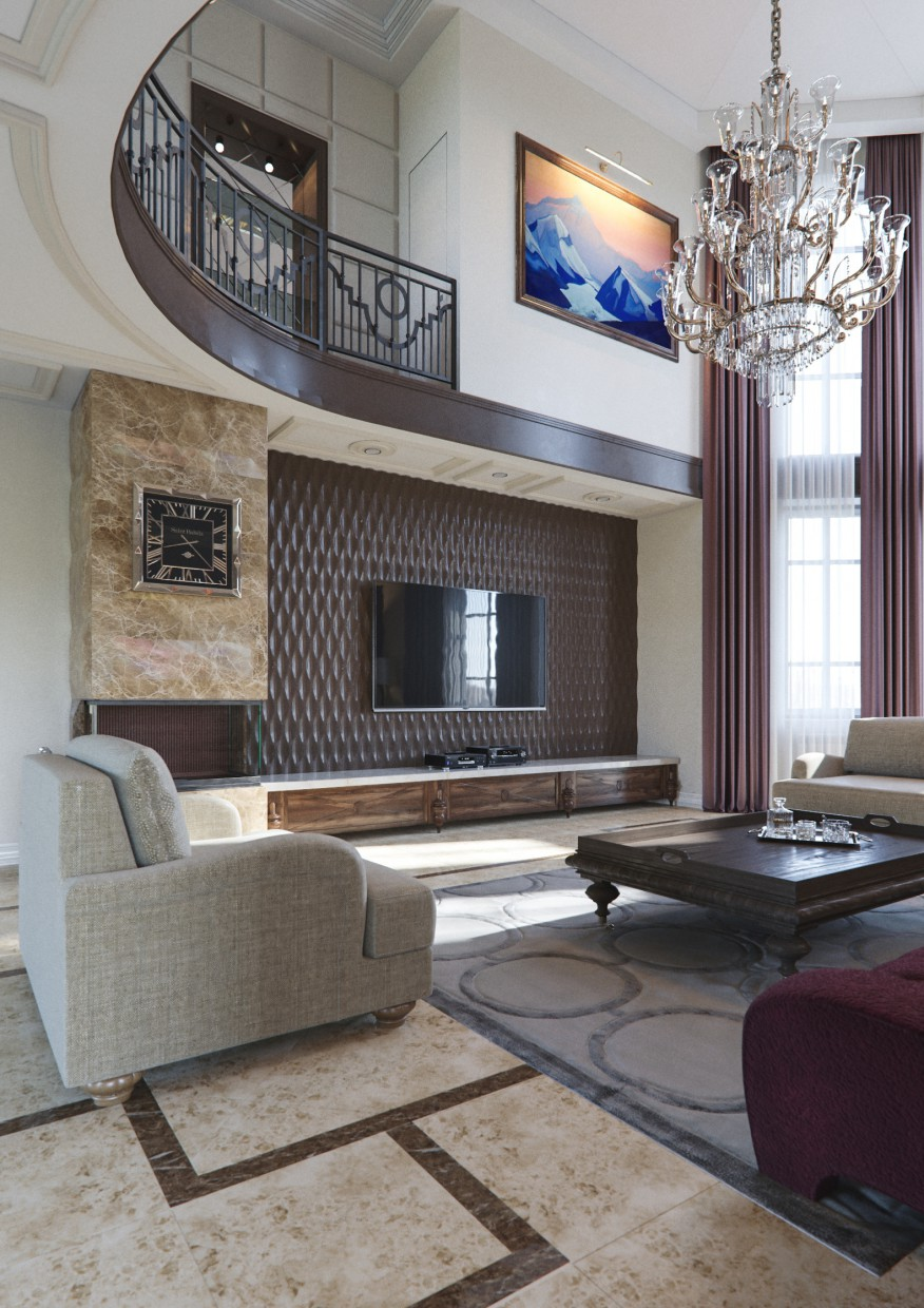 Interior Private House Living Room In The Style Of Avant