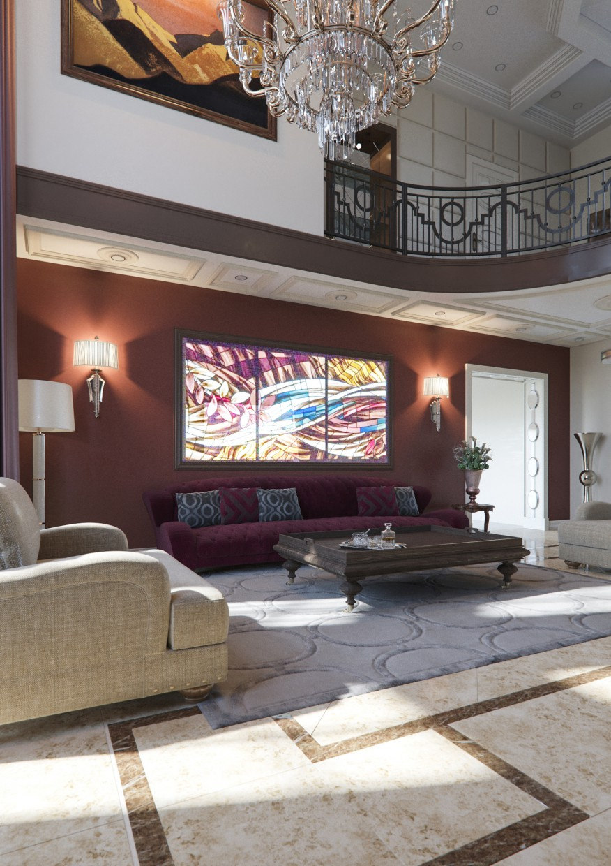 Частный дом   гостинная в 3d max corona render изображение