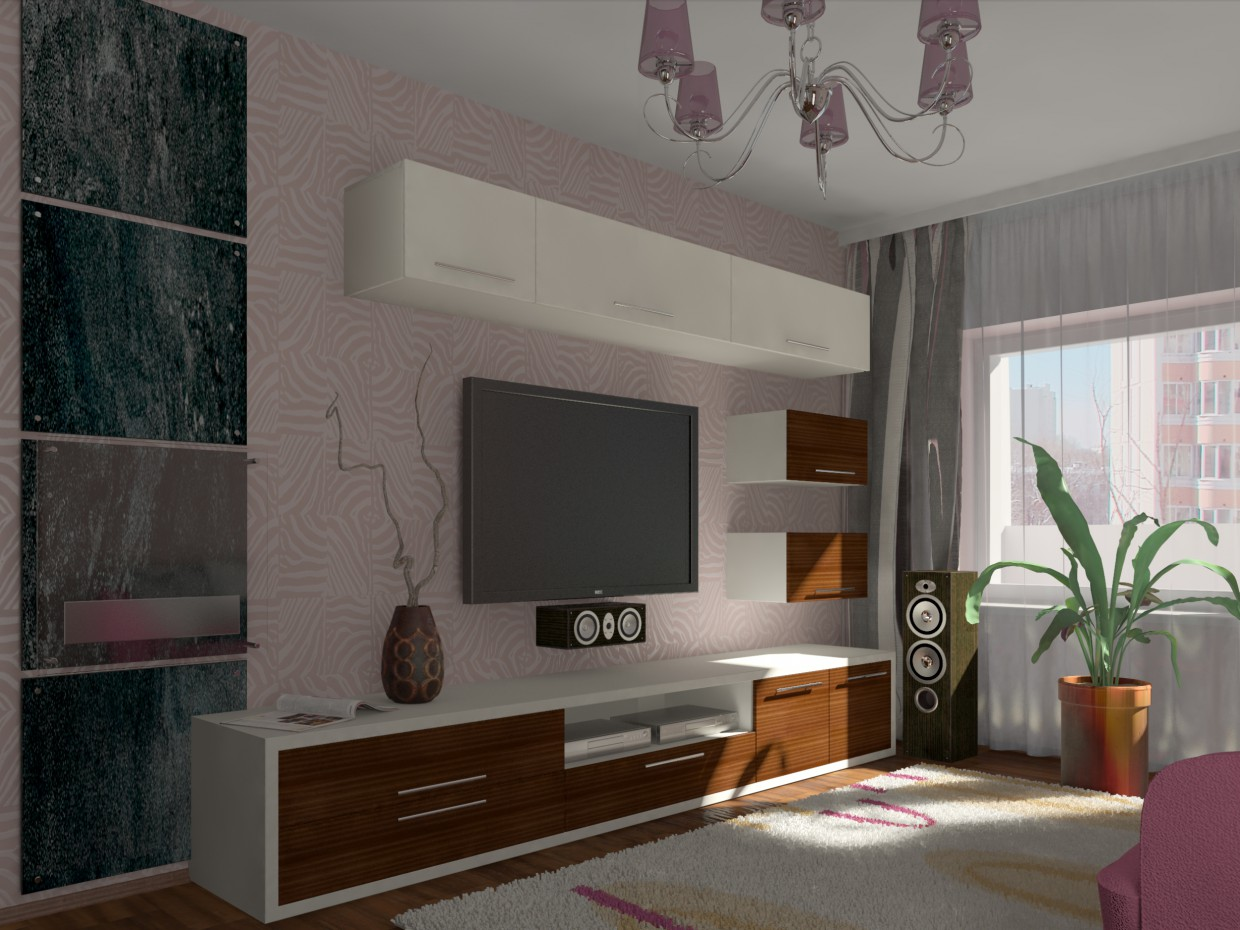 3d visualization of the project in the Bedroom-living room 3d max, render vray of kumana