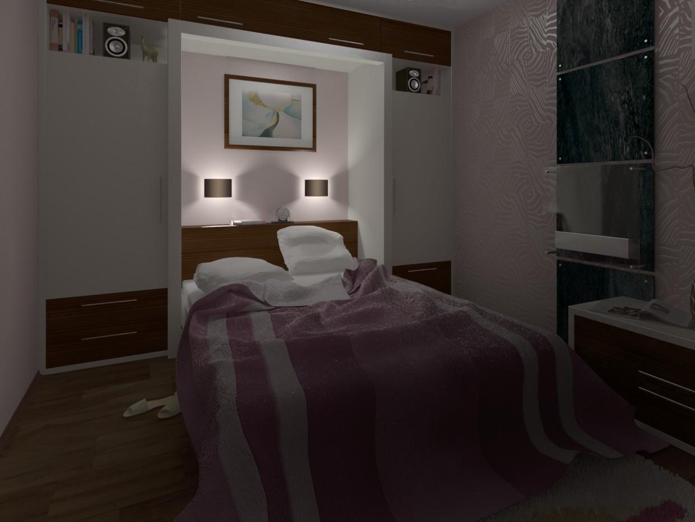 гостиная-спальня в 3d max vray изображение