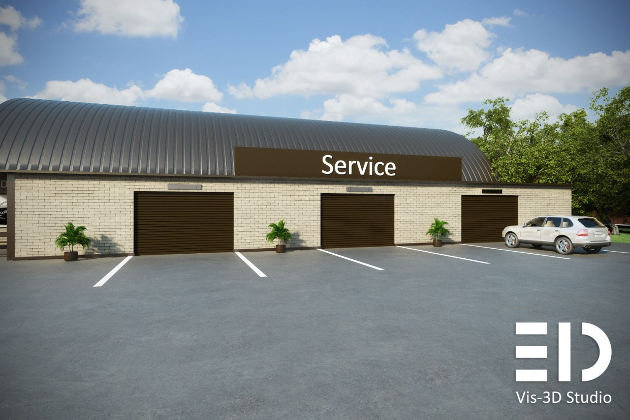 Autodealer center and service in 3d max vray image