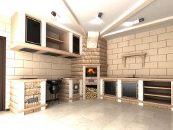 O Interior da cozinha de verão