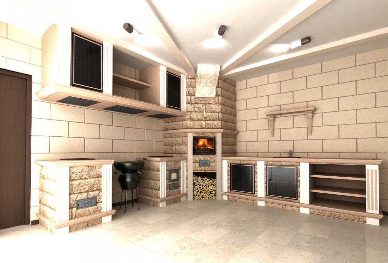 The Interior of the summer kitchen in 3d max vray image