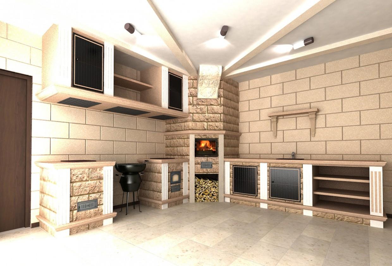 інтерєр літньої кухні 3d візуалізація та дизайн робота в 3d