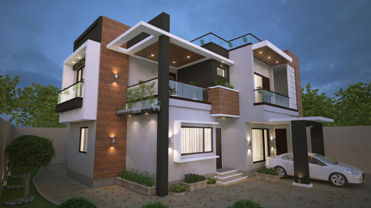 Modern exterior design of the house in 3d max vray 3.0 image