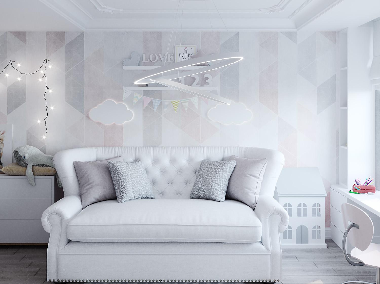 एक छोटी लड़की के लिए बच्चों का कमरा 3d max corona render में प्रस्तुत छवि
