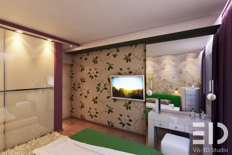 Небольшая спальня в 3d max vray изображение