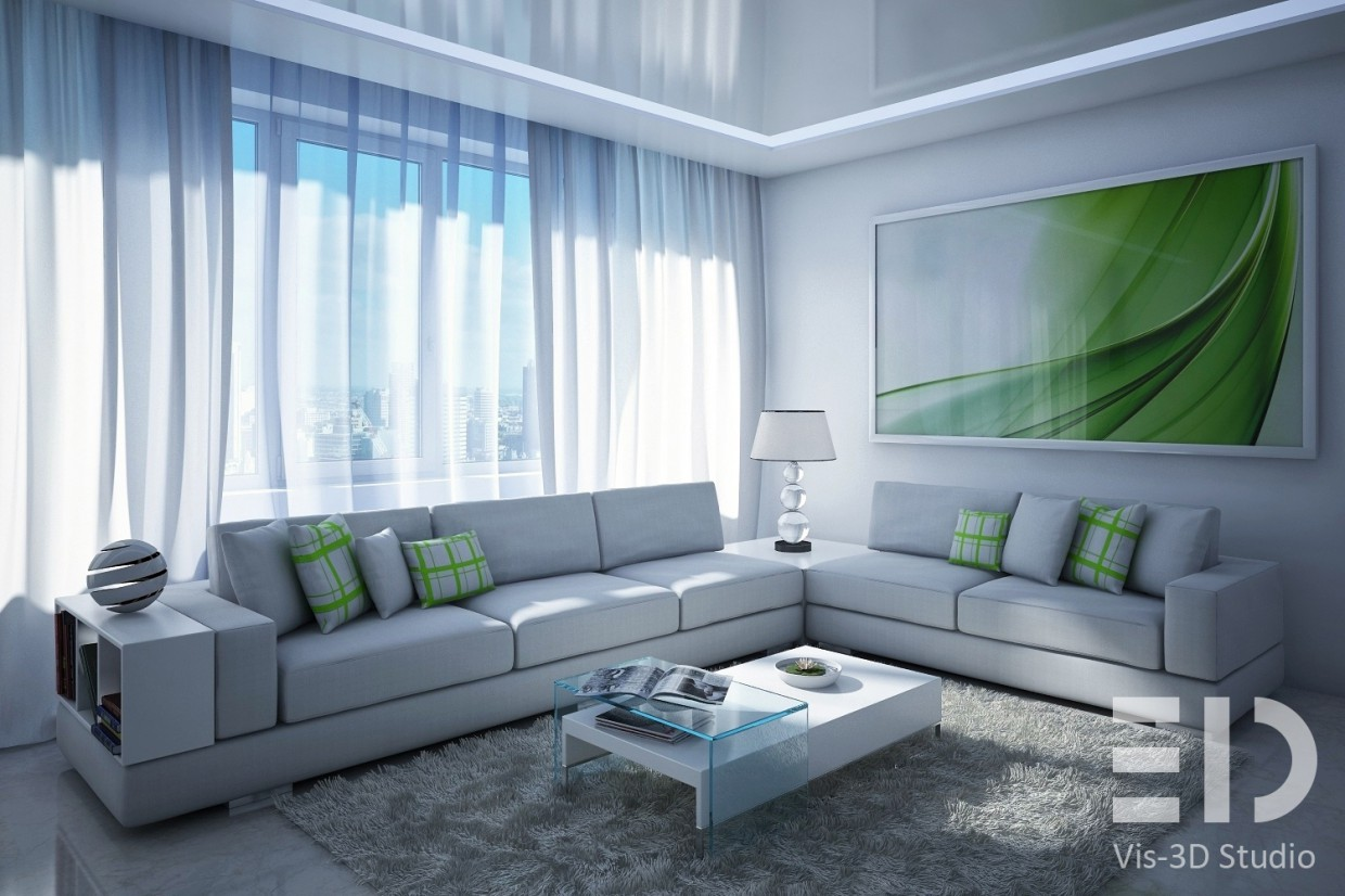Living in a modern style in 3d max vray image