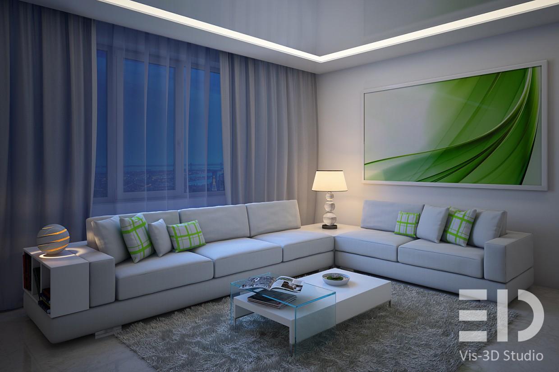 Гостиная в современном стиле в 3d max vray изображение
