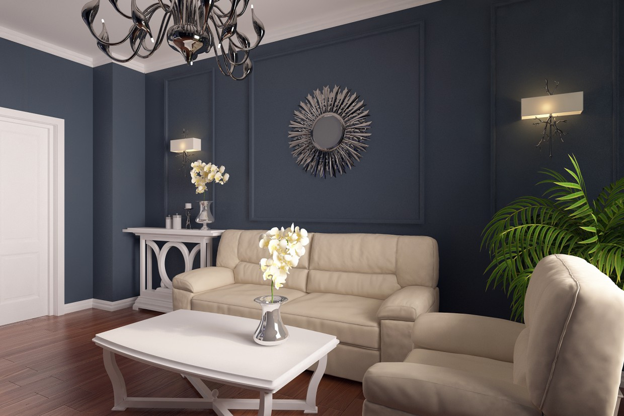 The living room for a family of 3 people in 3d max vray 3.0 image