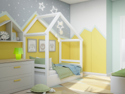 Children's room with zigzags