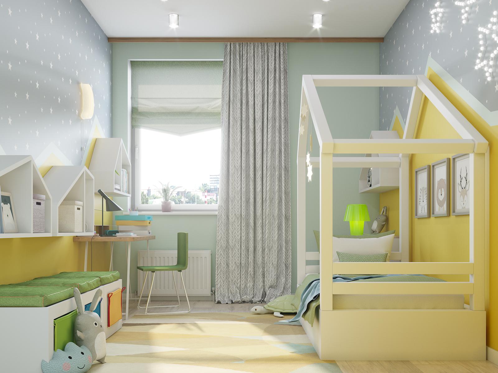 ज़िगज़ैग के साथ बच्चों का कमरा 3d max corona render में प्रस्तुत छवि