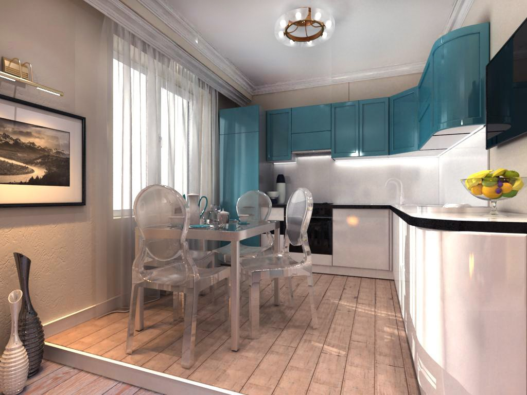 The implemented design-project of apartments in 3d max vray image