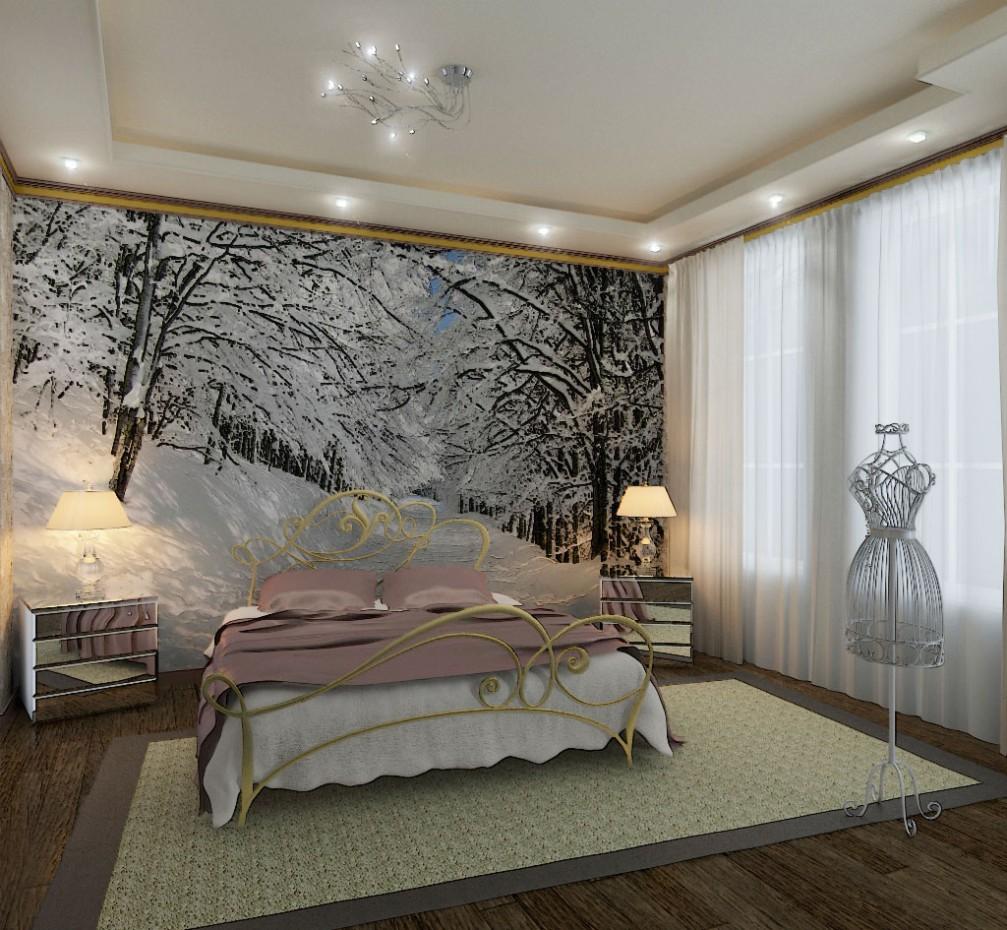 visualización 3D del proyecto en el foto de la pared en el dormitorio 3d max render vray 2.0 jupiter