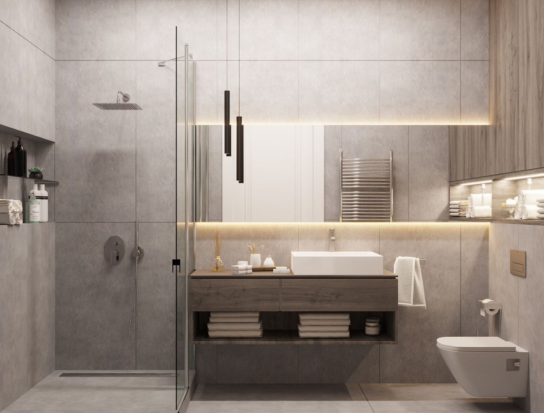पुरुषों का बाथरूम 3d max corona render में प्रस्तुत छवि