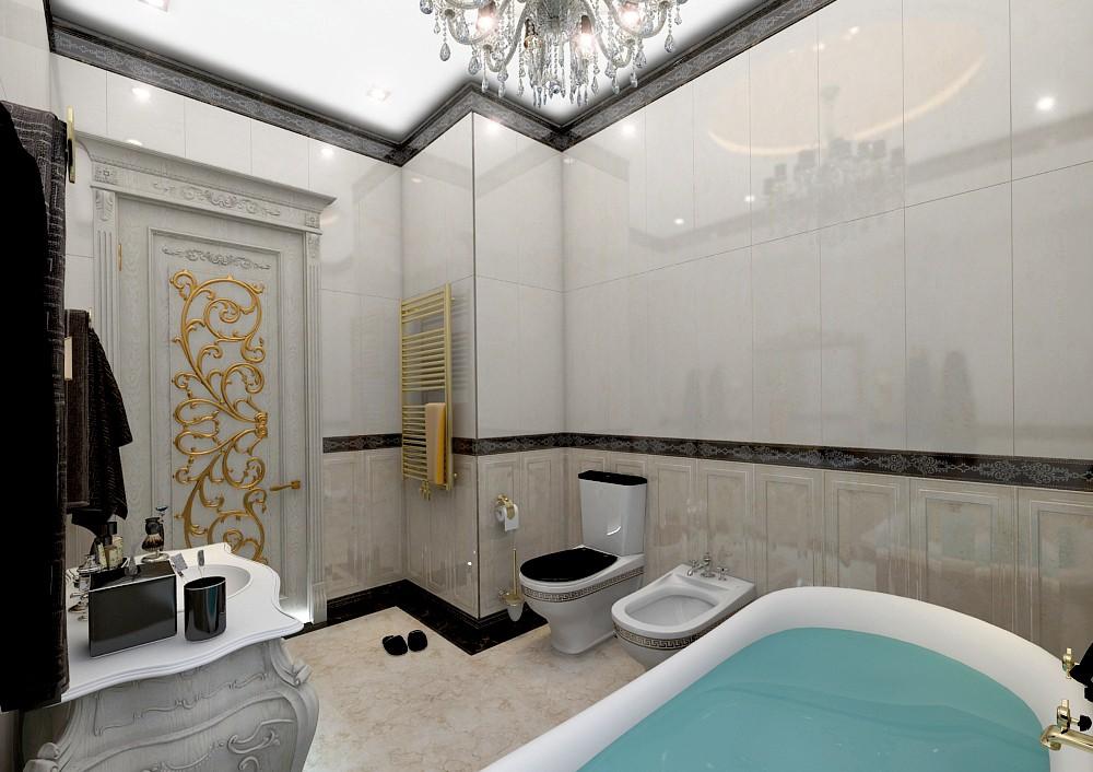 Классический дизайн ванной комнаты в 3d max vray 3.0 изображение
