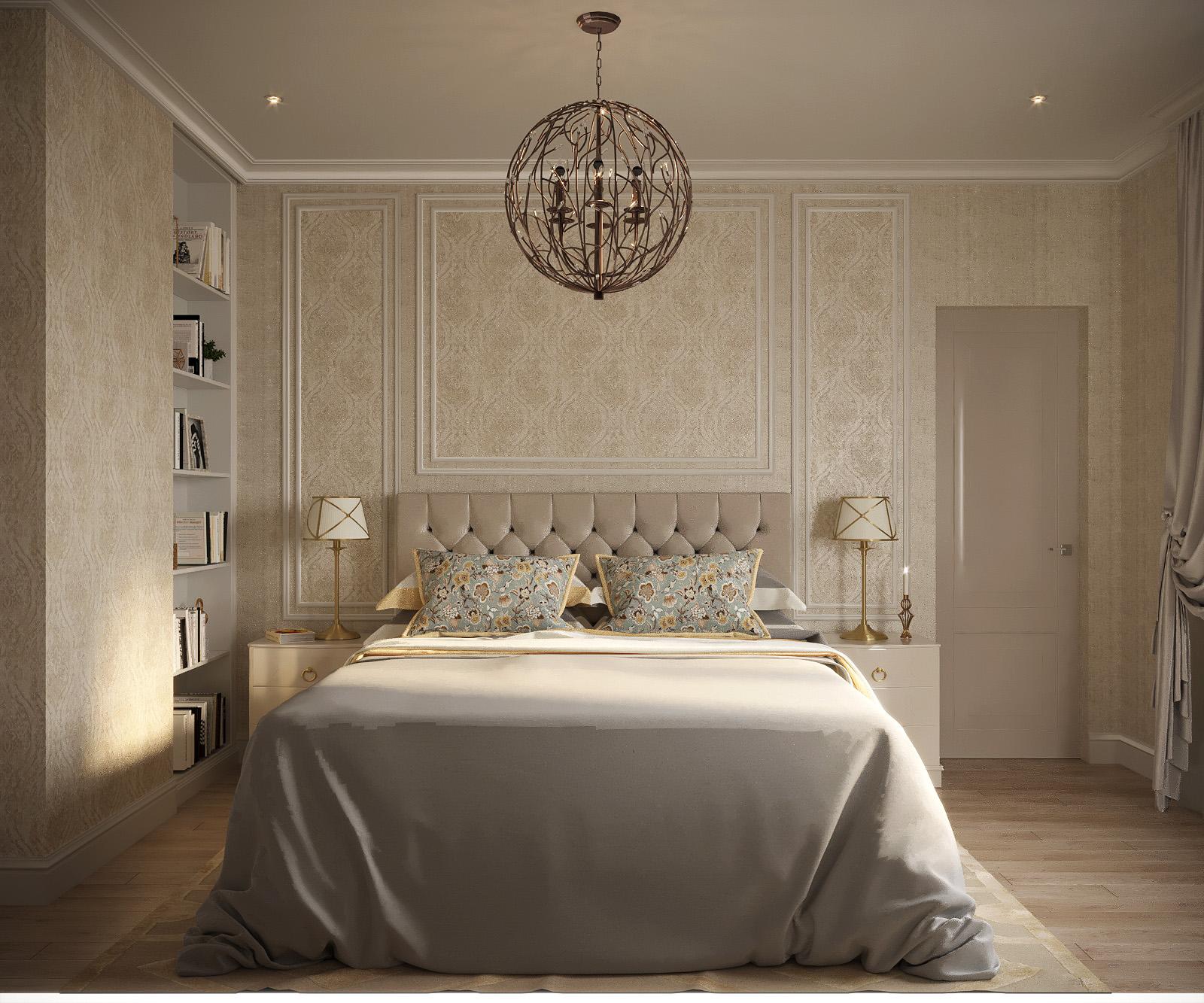 क्लासिक शैली का बेडरूम 3d max corona render में प्रस्तुत छवि